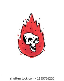 Illustration of a burning white skull. Vector icon. Image is isolated on white background. Burning skull, comic style. A tattoo, a logo for a biker club. Mascot. Emblem, symbol.