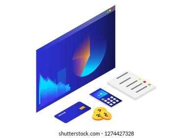 Illustration of Business Analytic. Business success Analysis data and Investment. Financial review with laptop and infographic elements. 3d isometric flat design. - Vector illustration