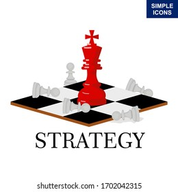 Illustration of a business concept with chess. leadership, chess knights, strategy, strategic step concepts. Vector illustration.