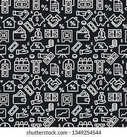 illustration of business and finance balck and white seamless pattern