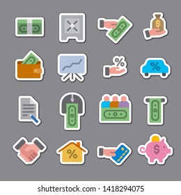 illustration of business and finance color stickers set