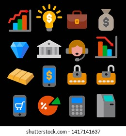illustration of business and finance flat color icons set