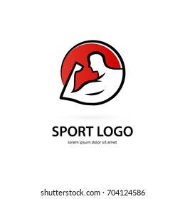 Illustration of business logotype bodybuilding and sport. Vector design logo Sport sign. Dumbbell pictogram, active lifestyle abstract icon