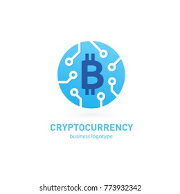 Illustration of business logotype cryptocurrency. Vector design logo finance and e-commerce. Bitcoin pictogram, virtual money abstract icon