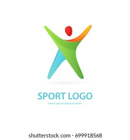 Illustration of business logotype fitness and sport. Vector design logo Sport silhouette. Man pictogram, active lifestyle abstract icon