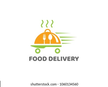 Illustration of business logotype restaurant and cafe. Vector design logo food delivery. Food pictogram, car and motorcycle abstract icon. vector illustration eps 10