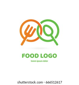 Illustration of business logotype restaurant and cafe. Vector design logo fork and spoon. Food pictogram, cooking abstract icon