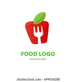 Illustration of business logotype restaurant and cafe. Vector design logo fork and fruit. Food pictogram, cooking abstract icon