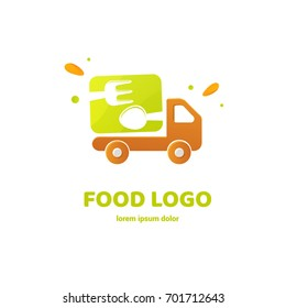 Illustration of business logotype restaurant and cafe. Vector design logo food delivery. Food pictogram, car abstract icon