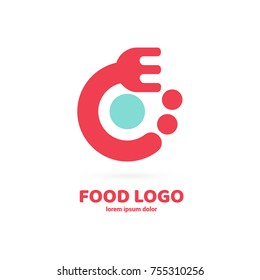 Illustration of business logotype restaurant and cafe. Vector design cooking logo. Food pictogram, cooking abstract icon.