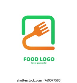 Illustration of business logotype restaurant and cafe. Vector design cooking logo. Food pictogram, cooking abstract icon