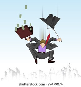 illustration of business man falling with umbrella and suitcase full of note