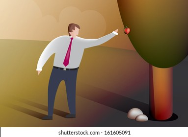 Illustration of a business man picking fruit from the forbidden tree.