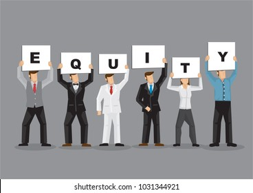 Illustration of business man and woman holding white board cards title Equity. Full length on grey background. Portray a concept of teamwork.