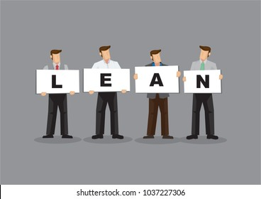Illustration of business man and woman holding white board cards title lean. Full length on grey background. Portray a concept of lean startup