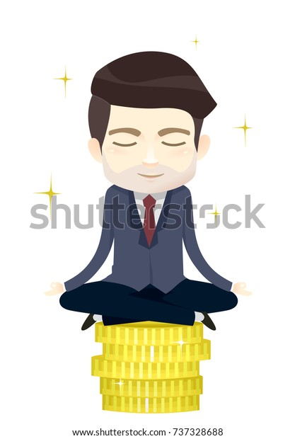 Illustration of a Business Man in Yoga Pose, Lotus Position, on Top of a Stack of Coins