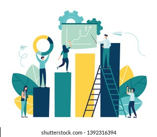 illustration of business, office workers study infographics on a graph from the columns, analyze the evolutionary scale, lift up-vector