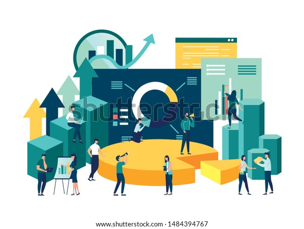 Illustration of a business, office workers study infographics on a graph of columns, analyze the evolutionary scale, business negotiations,  vector