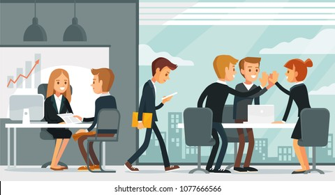 Illustration with business people