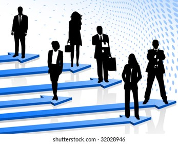 Illustration of business people and arrows