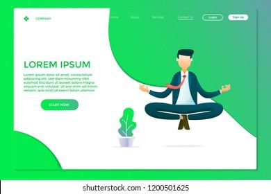 illustration of business people doing meditation, focus concept illustration vector, landing page design template for website and mobile website development