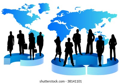 Illustration of business people and graph
