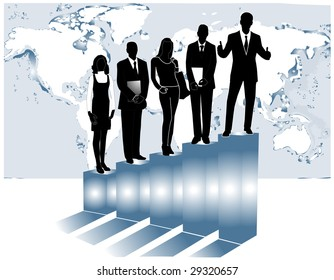 illustration of business people, graph and map