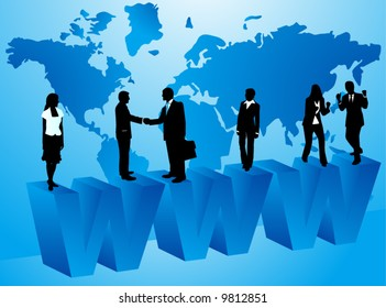 Illustration of business people and internet