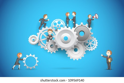illustration of business people on cog wheel showing team work