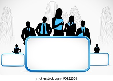 illustration of business people standing with placard on city backdrop