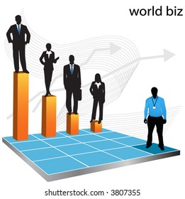 Illustration of business people... world biz