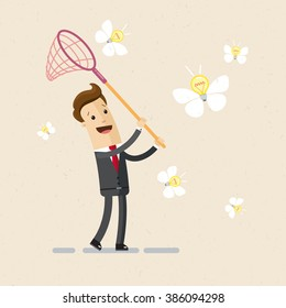Illustration of business project, ideas. A man in a suit catches ideas with butterfly net. Vector, EPS 10