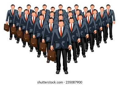 illustration of business team with leader in front isolated