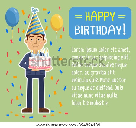 Illustration Of A Businessman With Birthday Cake Party Celebration Poster