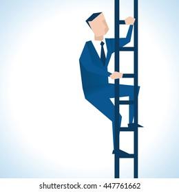 Illustration Of Businessman Climbing Ladder