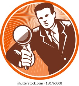 Illustration of a businessman facing front looking holding magnifying glass lens done in retro woodcut style set inside circle.