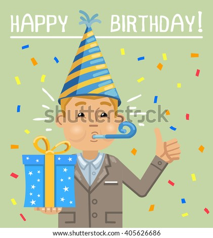 Illustration Of A Businessman With Gift Box Birthday Party Celebration Poster