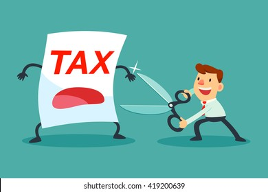 Illustration of businessman holding big scissors about to cut tax paper