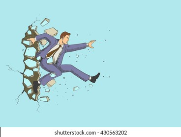 Illustration of a businessman jump breaking the wall.
