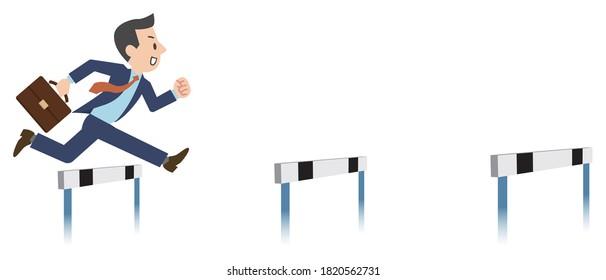 Illustration of a businessman jumping over hurdles