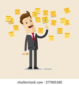 Illustration of businessman, manager. Business project, ideas. A man in a suit come up with an idea. A lot of stickers with  ideas on the wall.  vector, EPS10