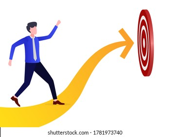 Illustration of a businessman pursuing a target. can be used for landing pages, templates, UI, web, mobile applications, posters, banners, leaflets
