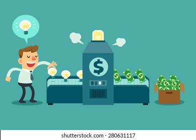 Illustration of businessman put idea bulbs in a machine and turn it into money