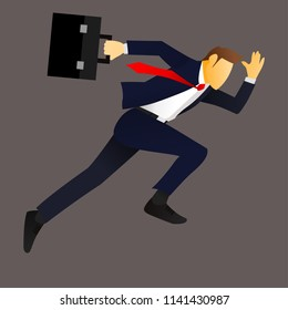 Illustration of a businessman running with briefcase, business, energetic, dynamic concept