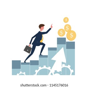 Illustration of a businessman. A businessman runs through the columns up the way to success. The achievement of the goal The increase in sales. Statistics and Analytics