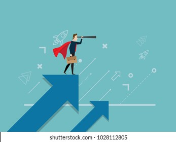 illustration of businessman with telescope standing on growth arrow graph business vision concept cartoon vector background