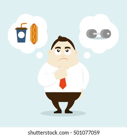 illustration of Businessman is thinking to choose foods or exercise. Vector illustration flat style.