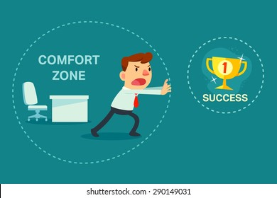 Illustration of businessman trying to break out of his comfort zone to success