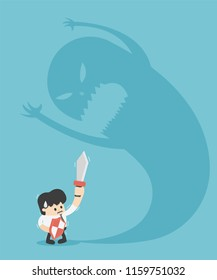 illustration Businessman trying to fight with Monster shadow