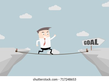 illustration of a businessman walking on a rope over a cliff with goal sign, eps10 vector